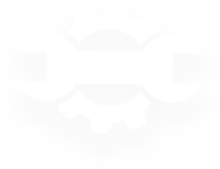 A white cog for a background.