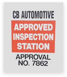An image of a CB Automotive inspection station sign.